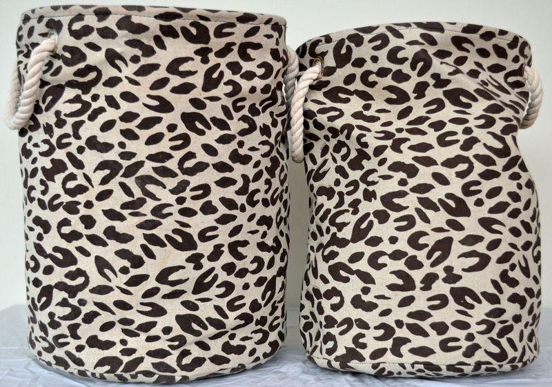 Jute Laundry Basket - leopard